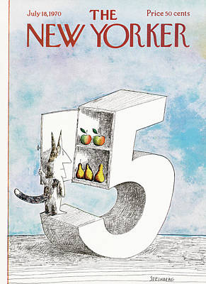 July Painting - New Yorker July 18th, 1970 by Saul Steinberg