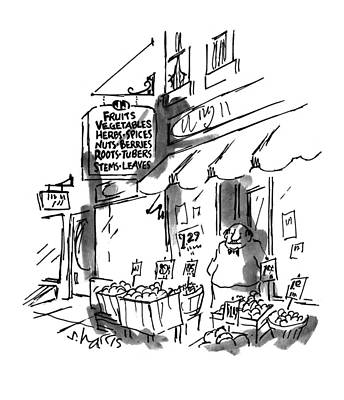Vegetable Stand Drawing - New Yorker July 18th, 1994 by Sidney Harris