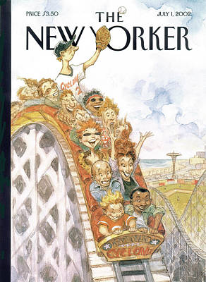 Roller Coaster Painting - New Yorker July 1st, 2002 by Peter de Seve