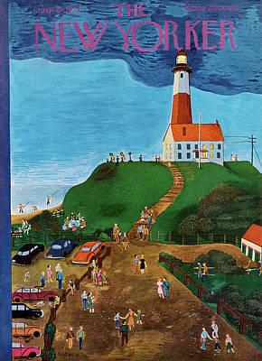 Long Island Painting - New Yorker July 21st, 1951 by Ilonka Karasz