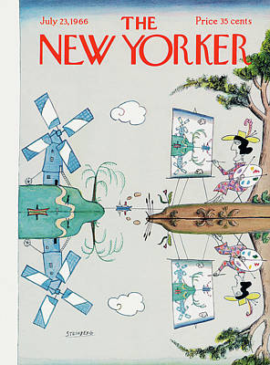 In The Distance Painting - New Yorker July 23rd, 1966 by Saul Steinberg