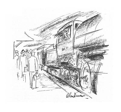 Train Drawing - New Yorker July 24th, 1943 by Alan Dunn