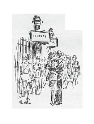 The Kiss Drawing - New Yorker July 25th, 1942 by Alan Dunn