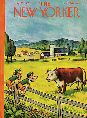 Farm Painting - New Yorker July 25th, 1953 by William Steig