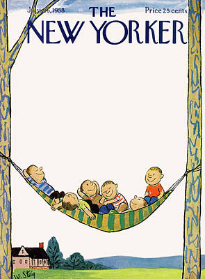July Painting - New Yorker July 26th, 1958 by William Steig