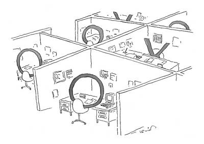 Cubicle Drawing - New Yorker July 26th, 1999 by Arnie Levin