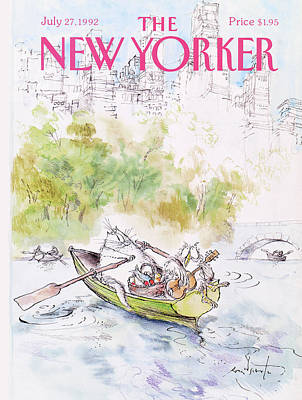 Cat Boat Painting - New Yorker July 27th, 1992 by Ronald Searle