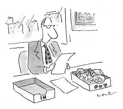Out Baskets Drawing - New Yorker July 27th, 1998 by Arnie Levin
