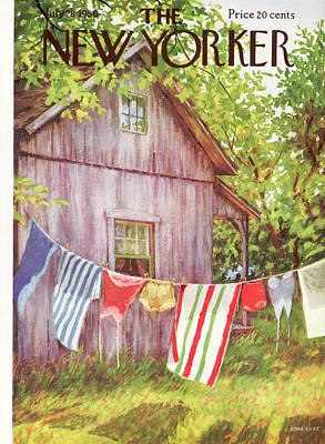 Clothesline Painting - New Yorker July 28th, 1956 by Edna Eicke