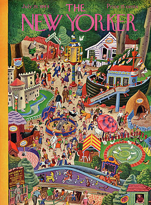 Amusement Park Painting - New Yorker July 29th, 1944 by Tibor Gergely