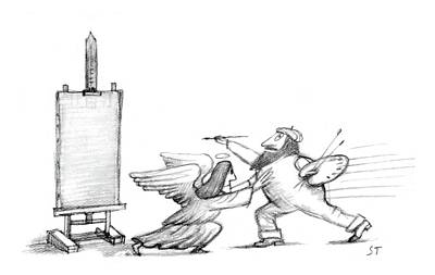 Angelic Drawing - New Yorker July 29th, 1985 by Saul Steinberg