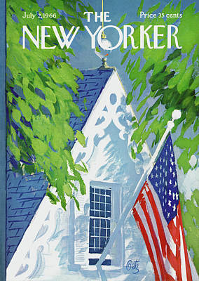 Flagpole Painting - New Yorker July 2nd, 1966 by Arthur Getz