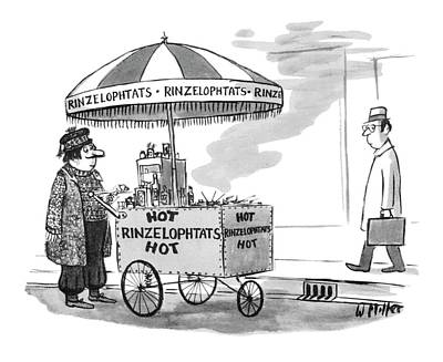 Street Vendor Drawing - New Yorker July 2nd, 1979 by Warren Miller