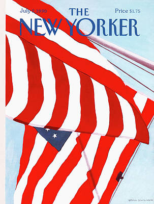 Flag Painting - New Yorker July 2nd, 1990 by Gretchen Dow Simpson