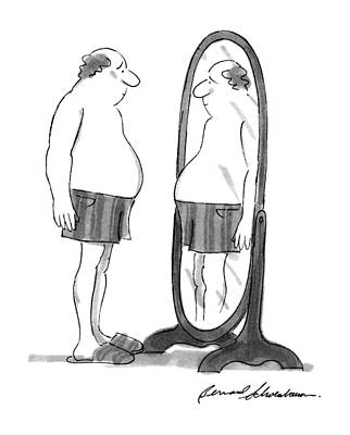 Mirror Drawing - New Yorker July 30th, 1990 by Bernard Schoenbaum