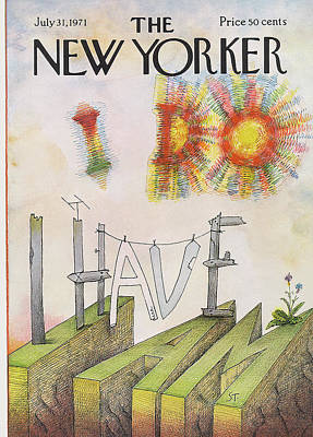 Stand Painting - New Yorker July 31st, 1971 by Saul Steinberg
