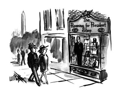 Store Fronts Drawing - New Yorker July 31st, 1995 by Warren Miller