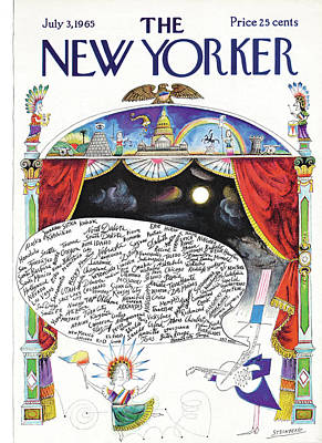 Uncle Sam Painting - New Yorker July 3rd, 1965 by Saul Steinberg