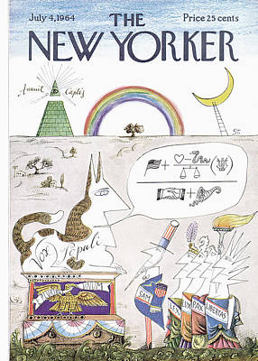 Sphynx Cat Painting - New Yorker July 4th, 1964 by Saul Steinberg