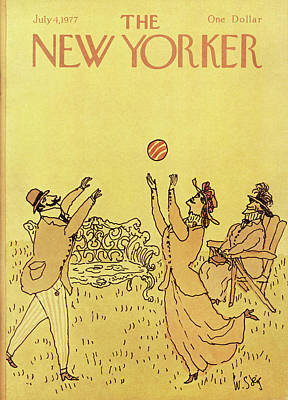 Lawn Chairs Painting - New Yorker July 4th, 1977 by William Steig