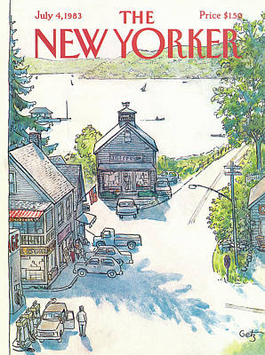 Small Town Painting - New Yorker July 4th, 1983 by Arthur Getz