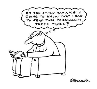 Man Reading Drawing - New Yorker July 4th, 1988 by Charles Barsotti