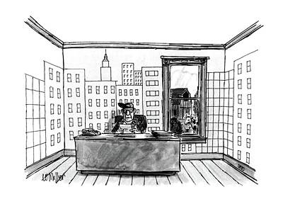 4th July Drawing - New Yorker July 4th, 1988 by Warren Miller
