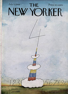 Firework Painting - New Yorker July 5th, 1969 by Saul Steinberg