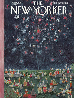 Fireworks Painting - New Yorker July 6th, 1957 by Ilonka Karasz