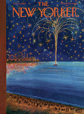 Firework Painting - New Yorker July 6th, 1963 by Anatol Kovarsky