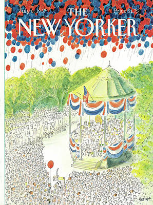 Flag Painting - New Yorker July 6th, 1987 by Jean-Jacques Sempe