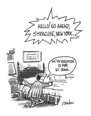 Praying Drawing - New Yorker July 6th, 1992 by Dana Fradon