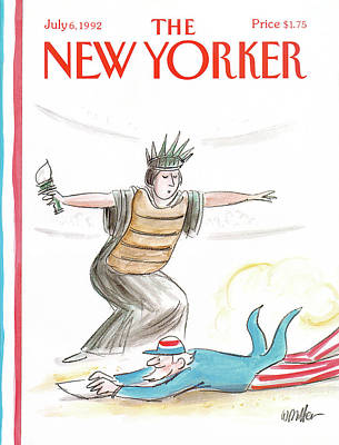 Lady Liberty Painting - New Yorker July 6th, 1992 by Warren Miller