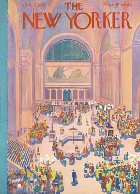 Train Painting - New Yorker July 7th, 1934 by Ilonka Karasz