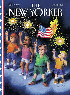 Fireworks Painting - New Yorker July 7th, 1997 by R. Sikoryak