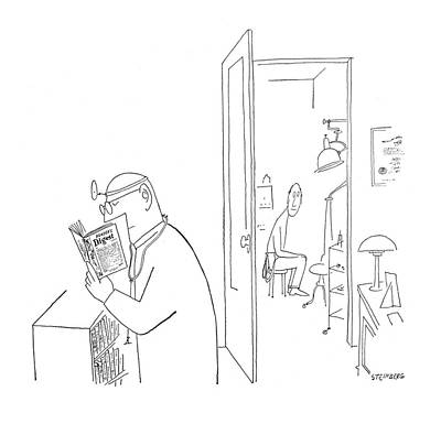 Consult Drawing - New Yorker July 8th, 1950 by Saul Steinberg