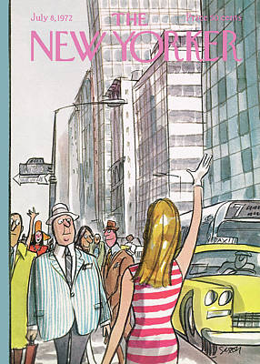 Street Scenes Painting - New Yorker July 8th, 1972 by Charles Saxon