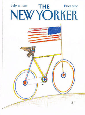 Flag Painting - New Yorker July 8th, 1985 by Saul Steinberg