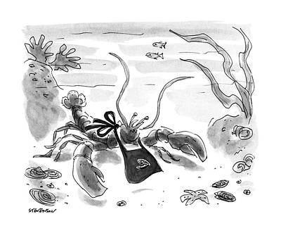 Lobster Drawing - New Yorker July 8th, 1991 by James Stevenson