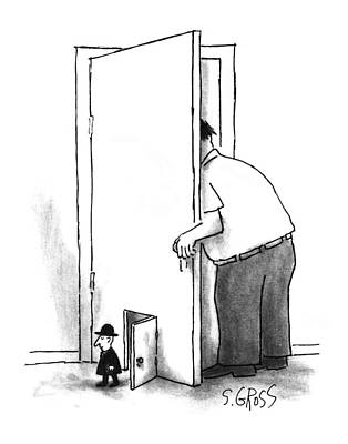 Open Door Drawing - New Yorker July 8th, 1996 by Sam Gross