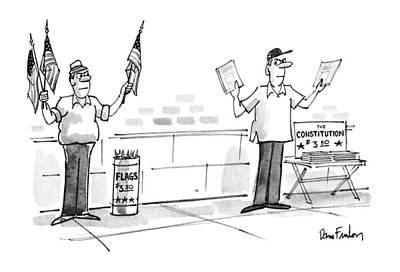 Sidewalk Drawing - New Yorker July 9th, 1990 by Dana Fradon