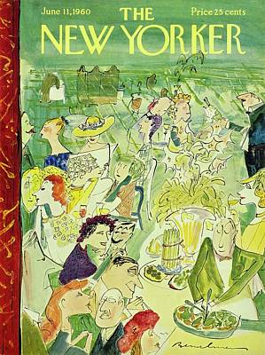 Food Painting - New Yorker June 11th 1960 by Ludwig Bemelmans
