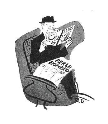 Berlin Drawing - New Yorker June 12th, 1943 by Roger Duvoisin