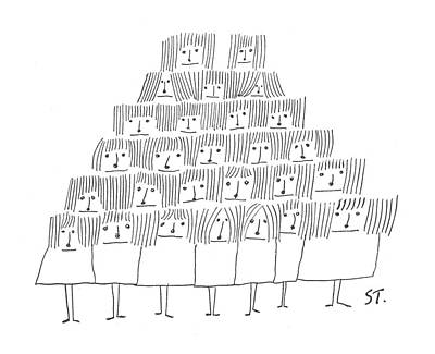 Pyramid Drawing - New Yorker June 12th, 1954 by Saul Steinberg
