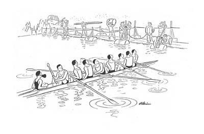 Canoe Drawing - New Yorker June 13th, 1942 by  Alain