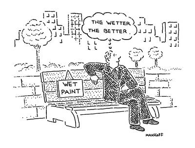 Park Benches Drawing - New Yorker June 13th, 1988 by Robert Mankoff