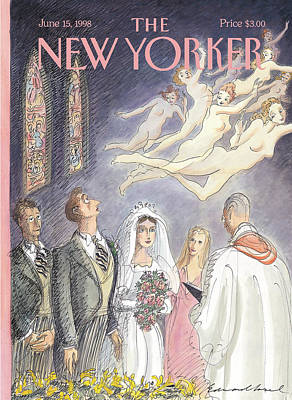 Bride And Groom Painting - New Yorker June 15th, 1998 by Edward Sorel