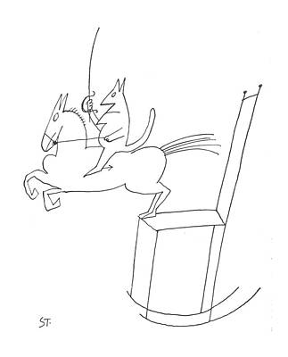 Rocking Chairs Drawing - New Yorker June 16th, 1962 by Saul Steinberg