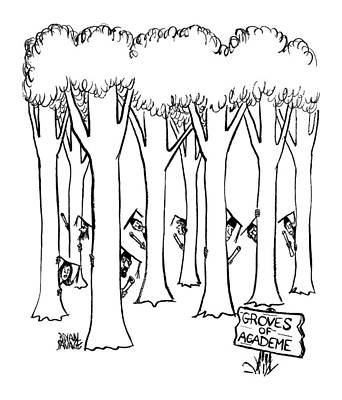 The Trees Drawing - New Yorker June 17th, 1972 by Brian Savage