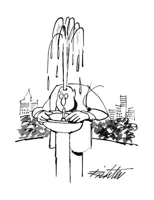 Water Fountain Drawing - New Yorker June 17th, 1996 by Mischa Richter